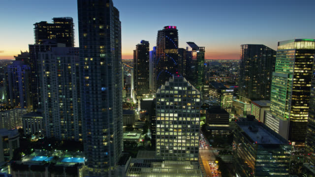 Drone View Between Condo Towers in Brickell, Miami at Twilight video