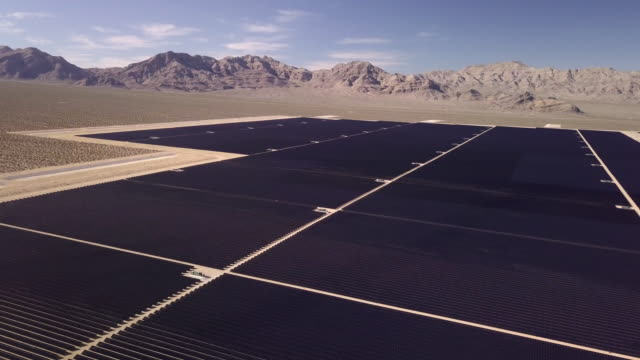 Drone View of a Giant Solar Collection Farm