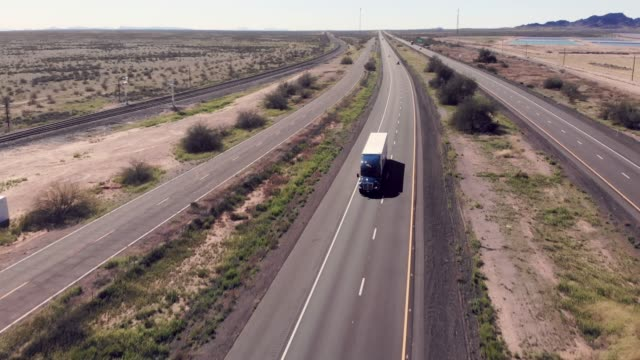 Drone View Of A Long Haul Semi Truck Speeding Down a Four Lane Highway Aerial view of Big freight truck on the open highway heading to their destinations to make the deliveries semi truck stock videos & royalty-free footage