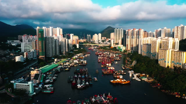 Drone view of Aberdeen Bay, Aberdeen, Hong Kong