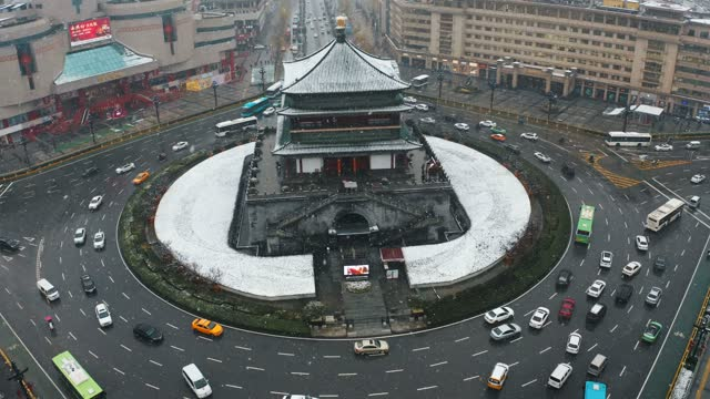 Drone view of ancient bell tower in snow,Xi'an,China.