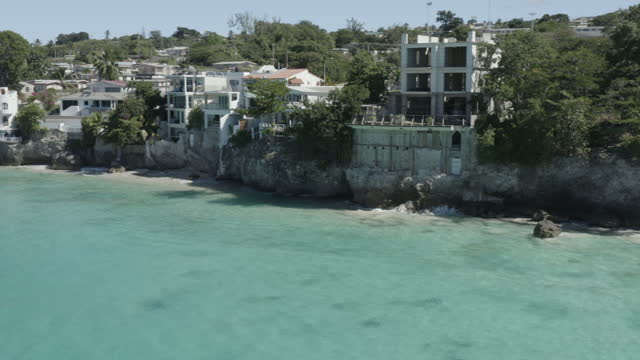Drone view of Batts Rock, Batts Rock beach, Barbados (2) (rotation right to left) video