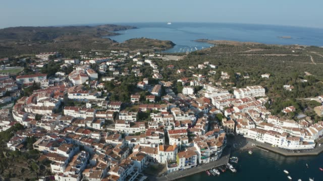 Drone view of beautiful seaside town Cadaques
