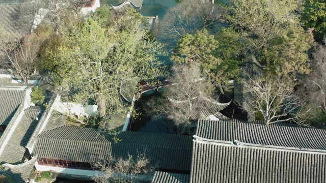 Drone View of Chinese classical garden,Suzhou,China.