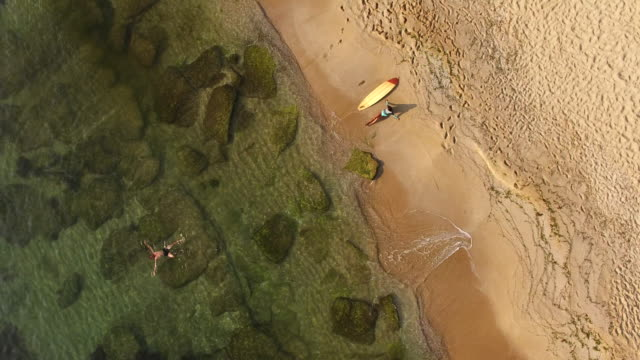 4K Drone view of coastline surfer couple on the beach