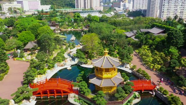 Drone view of Nan Lian Garden, Chi Lin Nunnery, Diamond Hills, Hong Kong