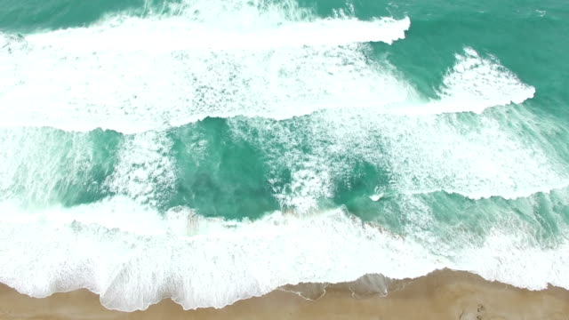 4K Drone view of sea waves and beach video
