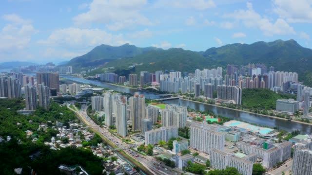 drohnenansicht des distrikts sha tin. neue territorien in hong kong - grundstück stock-videos und b-roll-filmmaterial