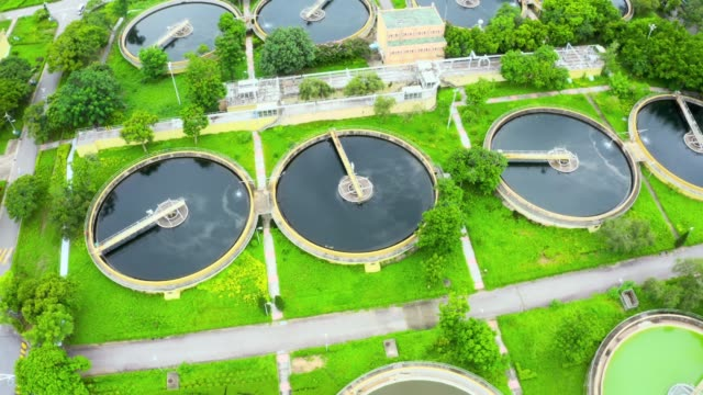 Drone view of Sha Tin Sewage Treatment Works
