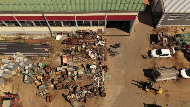 Drone view on metal junk yard