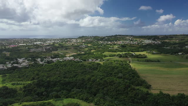 Drone view (slow rotation) over Barbados countryside. video