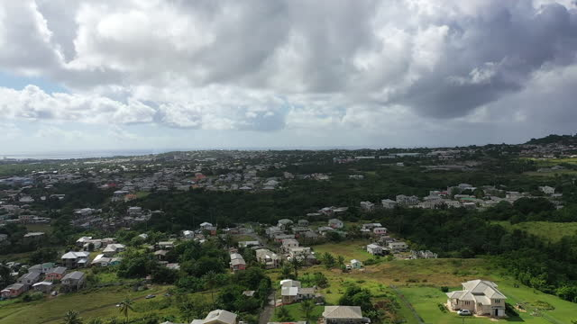 Drone view (rotation) over Barbados countryside. (1) video