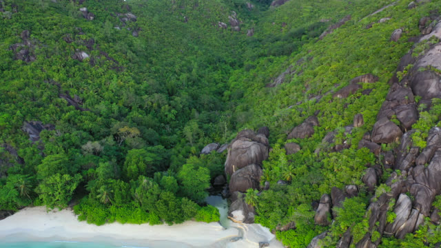 Drone view Seychelles beach at sunset video