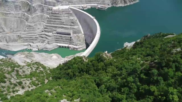 Drone views of Deriner dam. Deriner dam hightest dam in Turkey.  Deriner dam made in 02/14/2012