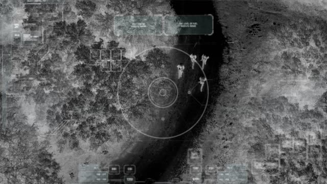 Drone with thermal night vision view of terrorist squad walking with weapons