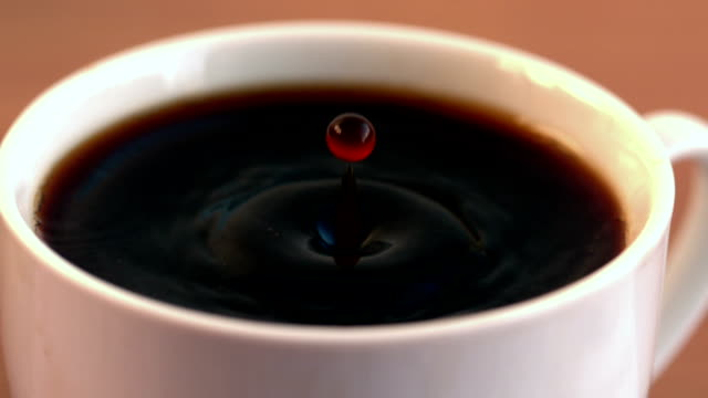Drop falling into cup of coffee in cinemagraph video