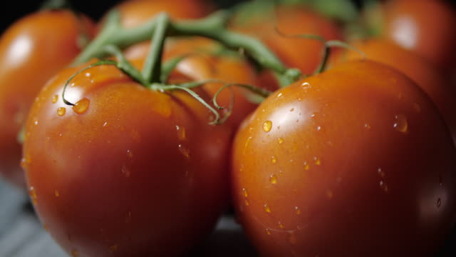 A drop of water drops from a fresh tomato and begins to spin on a stand . Counterclockwise rotation.Side view. tomato salad stock videos & royalty-free footage