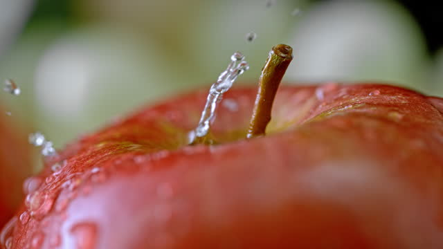 SLO MO LD A drop of water falling onto an apple and splashing