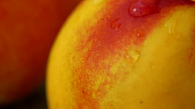 Drop of water flowing over surface of a ripe peach