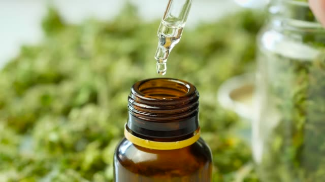 Dropper Pouring Cannabis Oil Dropper Pouring Cannabis Oil, Close-up cbd oil stock videos & royalty-free footage