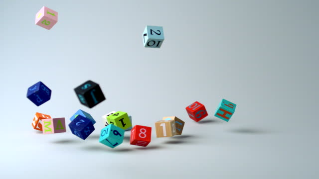 Dropping colorful dices with letters and numbers, Slow Motion