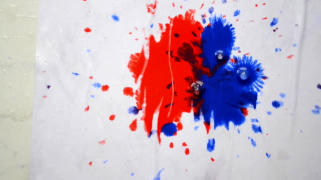 Drops of paint of different colors dripping on white paper video
