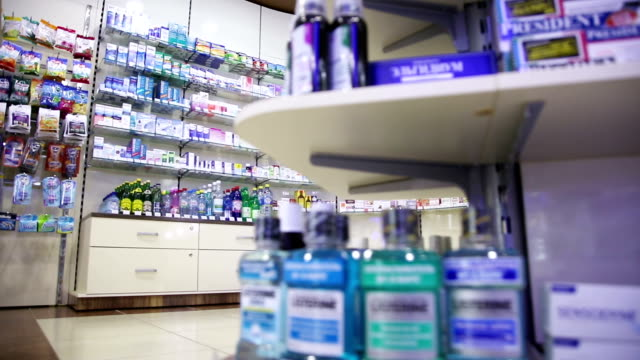 drugstore interior Healthcare Products For Sale In Cosmetics And Healthcare Store in Rissia pharmaceutical industry stock videos & royalty-free footage