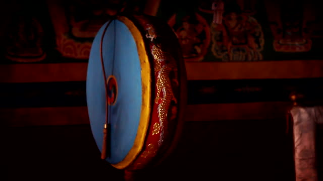 Drum inside a buddhist temple in Nepal's Mustang region video
