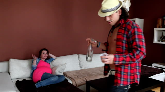 Drunk man and pregnant woman video