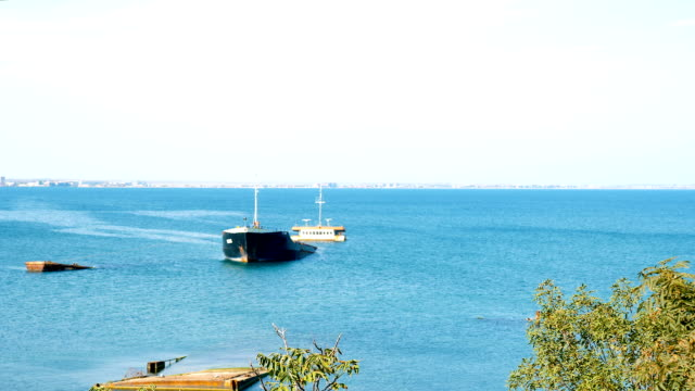 Dry cargo ship sunk off the coast of the port city.