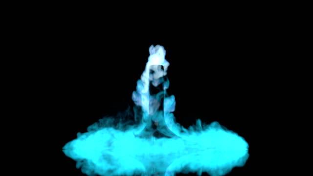Dry ice with blue smoke