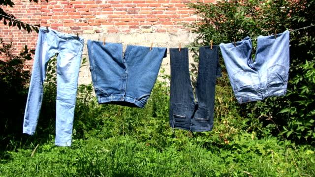 suszenie pralni-dżinsy spodnie - dżinsy filmów i materiałów b-roll