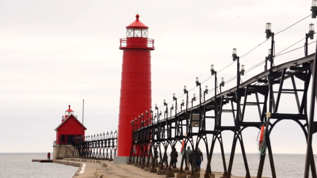 Dual Lighthouses Grand Haven Nautical Markers Lake Michigan video