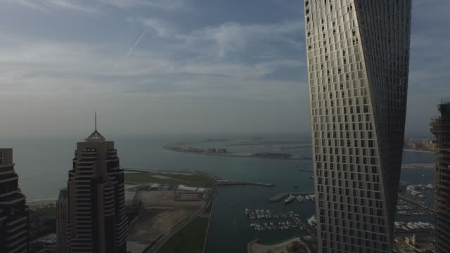 dubai - aerial view - dubai marina - paesi del golfo video stock e b–roll