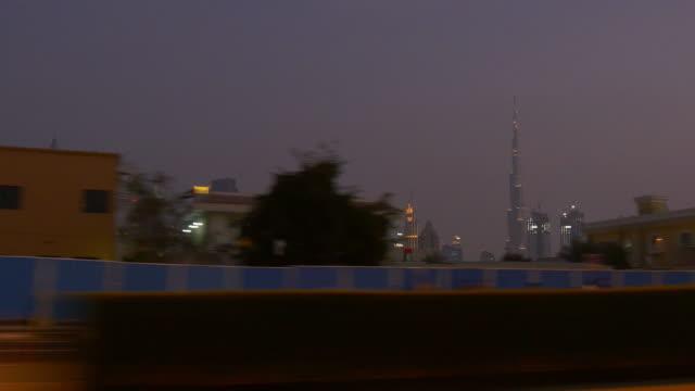 dubai city al wasl road trip night illumination downtown  4k united arab emirates video