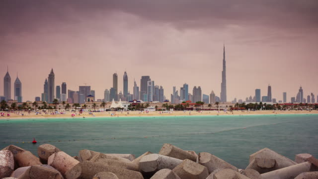 dubai city downtown beach bay panorama 4k time lapse united arab emirates video