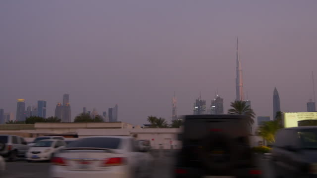 dubai city road trip evening time sky downtown  4k united arab emirates video