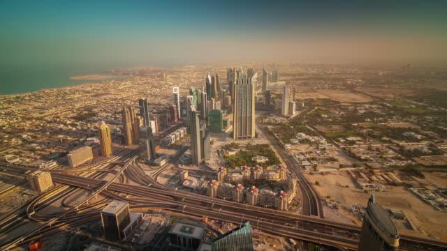 dubai city sunrise downtown roof top panorama 4k time lapse united arab emirates video
