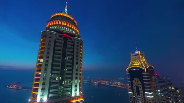 dubai city sunset famous skyscraper building top 4k time lapse united arab emirates video
