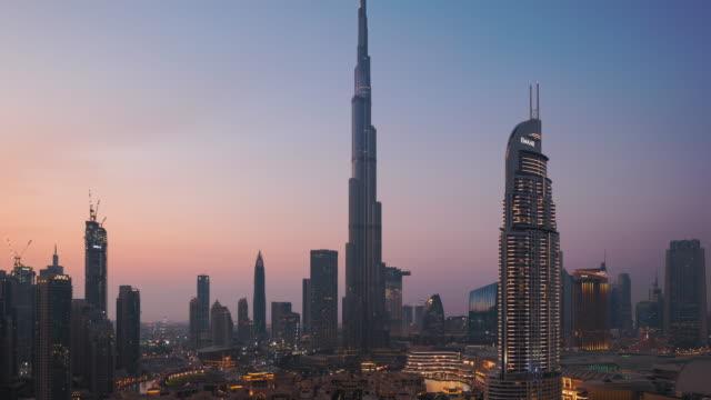 T/L WS HA Dubai cityscape at sunset,UAE Dubai, Persian Gulf Countries, United Arab Emirates, Urban Skyline, Burj Khalifa dubai architecture stock videos & royalty-free footage