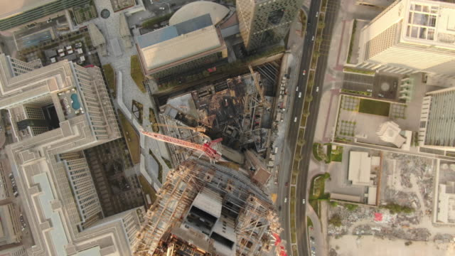 Dubai construction drone fly above 3 Drone flight at Dubai construction dubai architecture stock videos & royalty-free footage