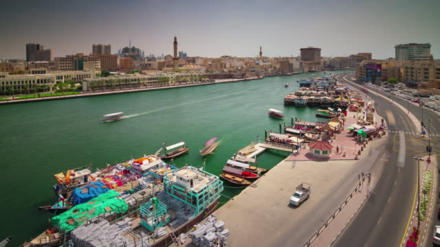 dubai deira famous creek ship bay traffic 4k time lapse united arab emirates - 7 star stock videos and b-roll footage