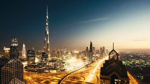 dubai downtown day to night traffic - paesi del golfo video stock e b–roll