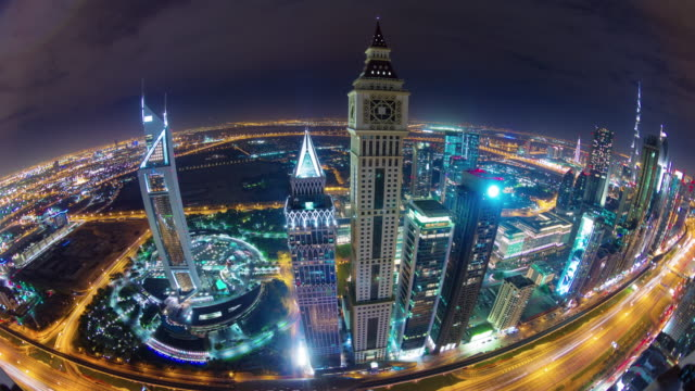 dubai downtown night light main road roof top panorama 4k time lapse united arab emirates video