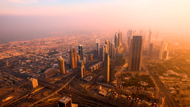 Dubai Downtown sunrise timelapse view from the top in Dubai video