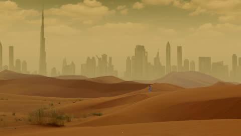 Dubai in Desert Dubai From Desert middle east stock videos & royalty-free footage