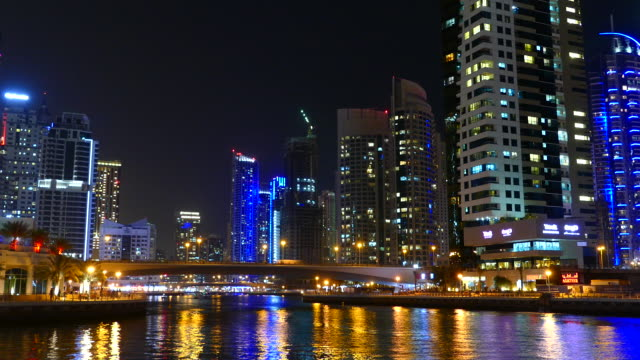 4K Dubai marina at night video