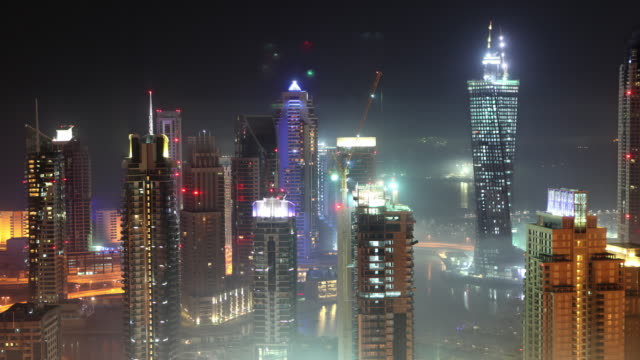 Dubai Marina in Fog video