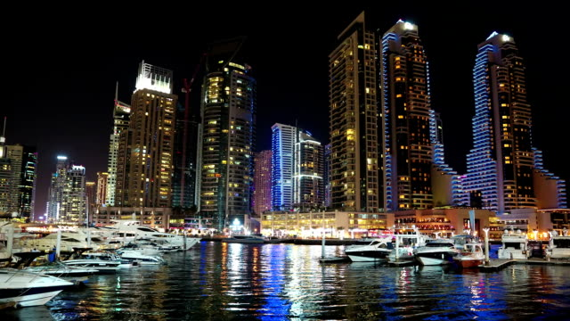 Dubai Marina night time lapse, United Arab Emirates video
