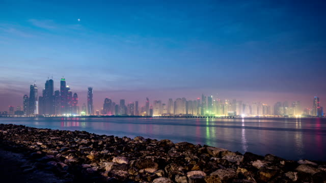 Dubai Marina skyline - Timelapse video